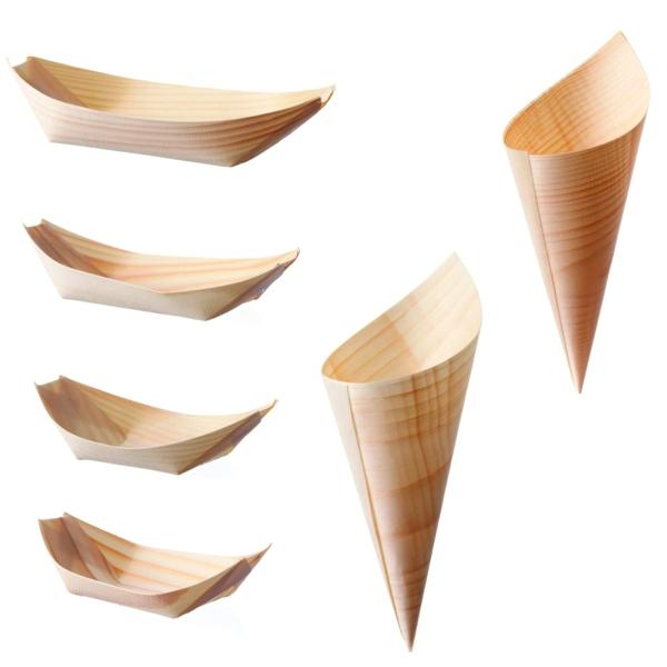 Holz Schiffchen - Spitztüten