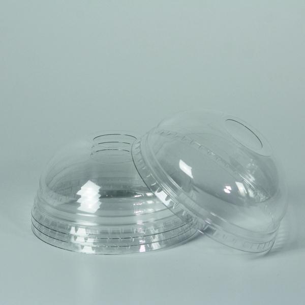Dome Deckel für PET Clear Cup - d=95mm - Mit Loch - 50 Stück