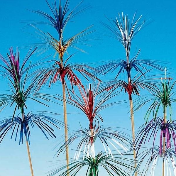 100 Deko-Aufstecker - Feuerwerk Palmenwedel 3-fach