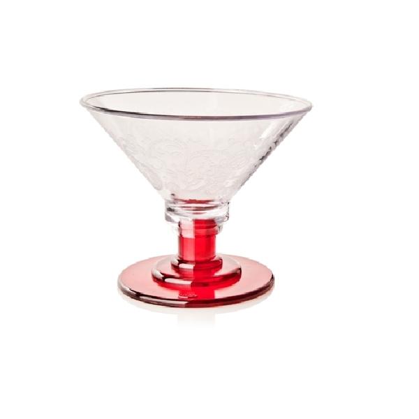 Eisglas Kunststoff - Coppa Eis 600ml - Fuß rot