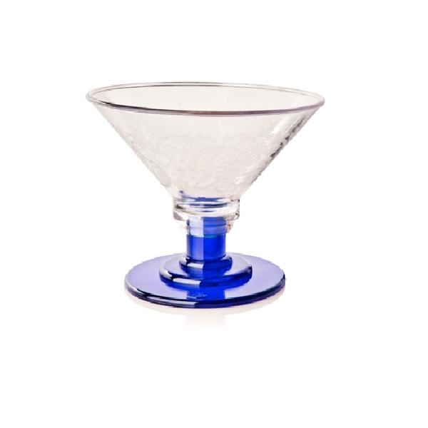 Eisglas Kunststoff - Coppa Eis 600ml - Fuß blau