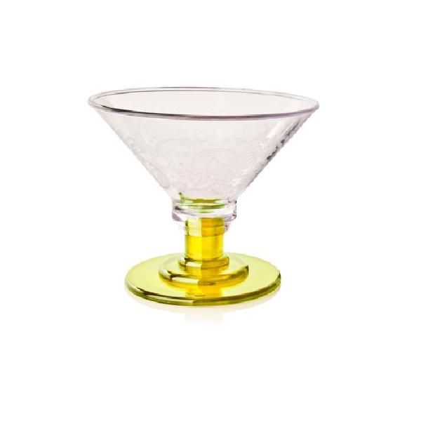 Eisglas Kunststoff - Coppa Eis 600ml - Fuß gelb