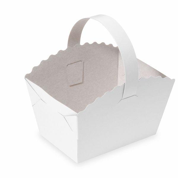 Gebäckkörbchen mit Henkel weiß 10 x 8 x 6cm - 50 Stück