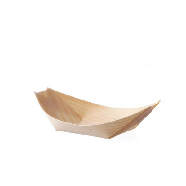 Bio Pinien Holz Schiffchen - Holzschalen - 140mm x 80mm