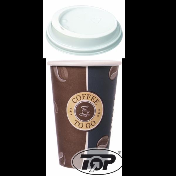 Set 100 Kaffeebecher Topline 300ml + 100 Deckel weiß 80mm