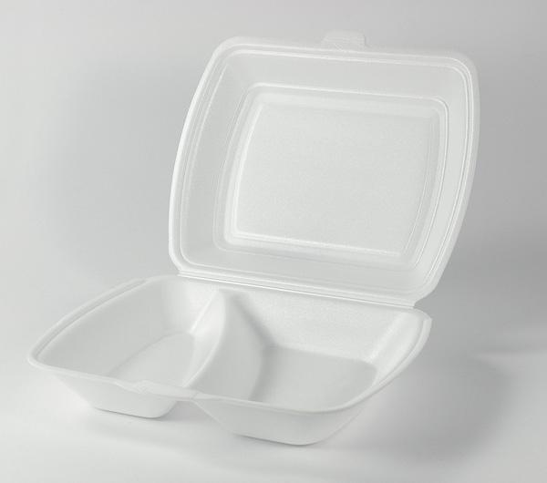 Menüboxen, Imbissboxen, Menüschalen EPS weiß laminiert HP4 2-geteilt - 250 Stück