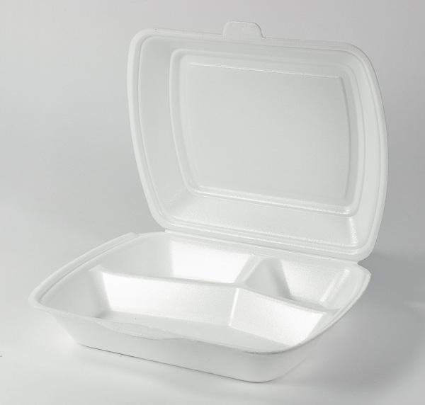 Menüboxen, Imbissboxen, Menüschalen EPS weiß laminiert HP4 3-geteilt - 250 Stück