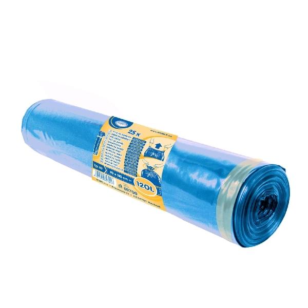 Müllbeutel, Müllsäcke, Abfallsäcke - LDPE blau - mit Zugband 120 Liter - 25 Stück