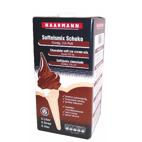 (2,60 € / Liter) Naarmann Schoko Softeis Flüssigmix 5% Fett - 5 Liter