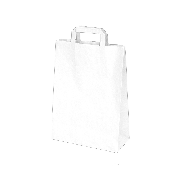 Papiertragetaschen weiß - 22x10x28cm - 50 Stück