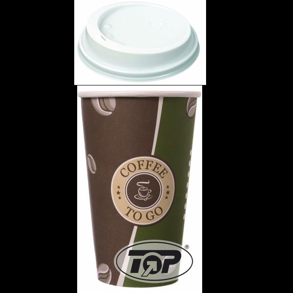 Set 100 Kaffeebecher Topline 400ml + 100 Deckel weiß 90mm