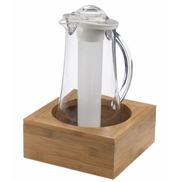 Set Kühl Karaffe + Holz Tischständer für 2 Liter