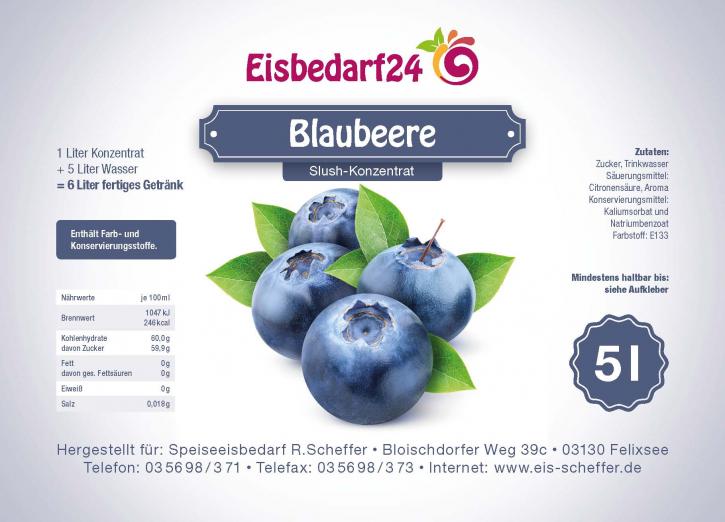 Slush Eis Sirup Blaubeere - 5 Liter Konzentrat