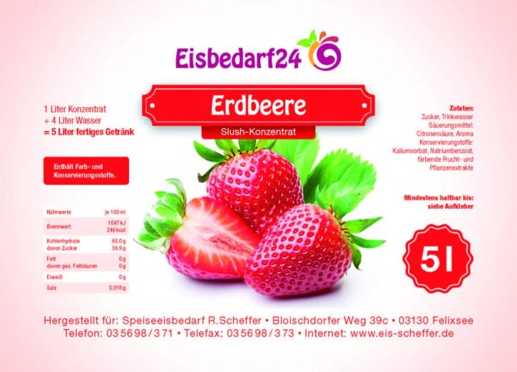Slush Eis Sirup Erdbeere- 5 Liter Konzentrat