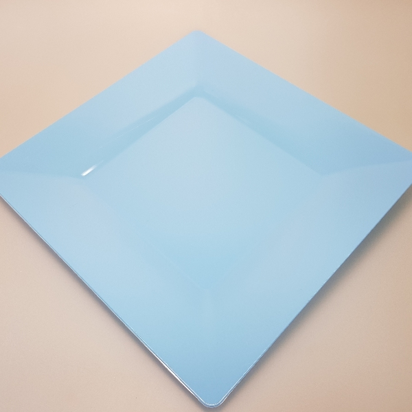"Mehrweg Teller ""Spigolo"" - Himmelblau - 23x23cm - 25 Stück"