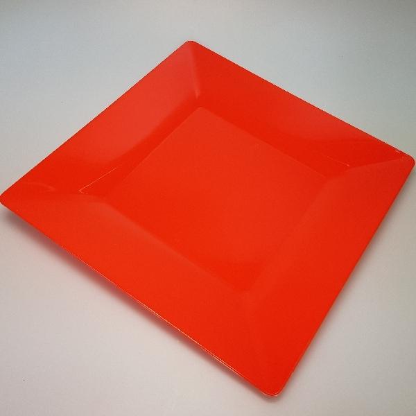 "Mehrweg Teller ""Spigolo"" - Rot - 23x23cm - 25 Stück"