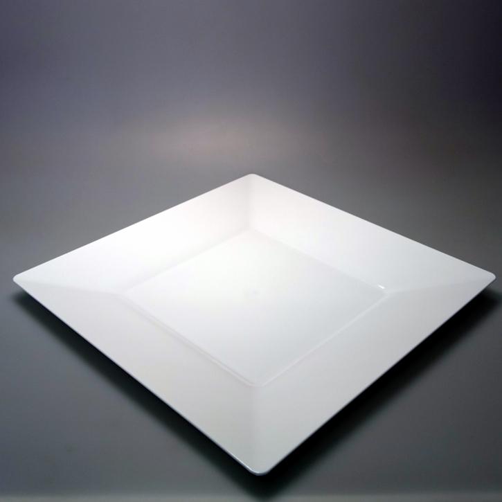 """Mehrweg Teller """"Spigolo"""" Kunststoff - weiß - 27x27cm - 25 Stück"""