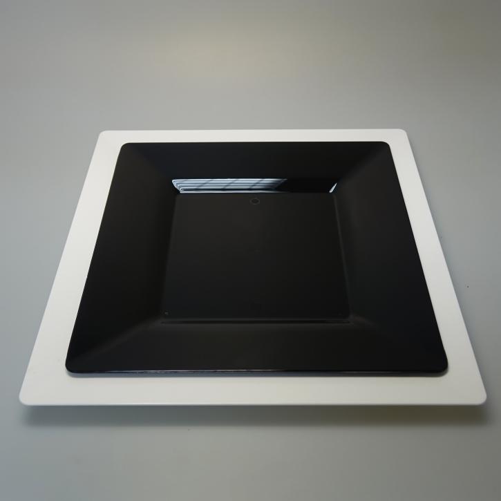 """Mehrweg Teller """"Spigolo"""" Kunststoff - schwarz - 23x23cm - 25 Stück"""