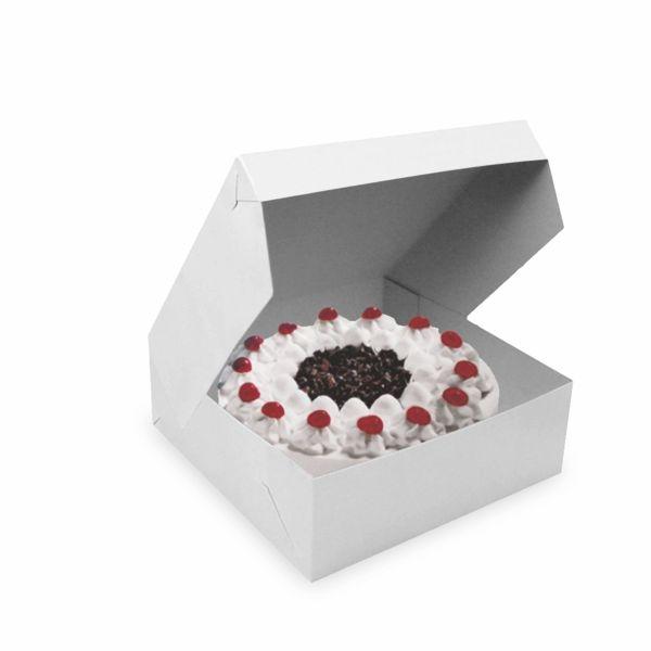 Tortenkarton 1-teilig weiß 25x25x10cm - 50 Stück