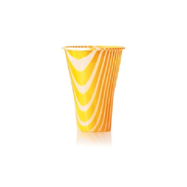 Trinkbecher 500cc orange gestreift - 400ml - 50 Stück