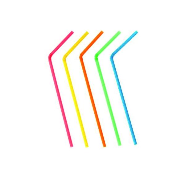Trinkhalme mit knick 24cm - Neon Farben - 1000 Stück